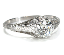 Art Deco Floral Diamond Ring of .70 carats