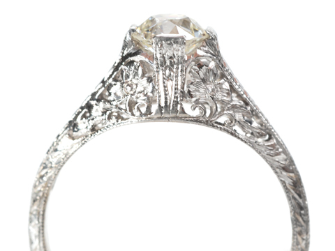 Early 20th C.  Diamond Platinum Ring