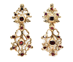 Antique Spanish Garnet & Gold Earrings