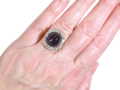 Antique Russian Amethyst Diamond Ring
