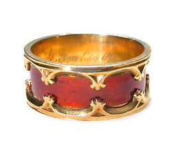 Rare Dated & Engraved Gothic Revival Ring ca. 1841
