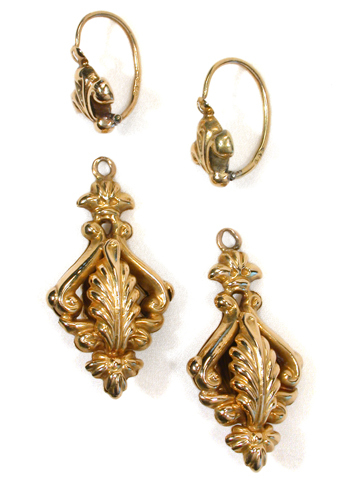Late Georgian Gold Day Night Earrings