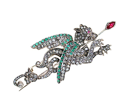 Magical Antique Diamond Dragon Brooch