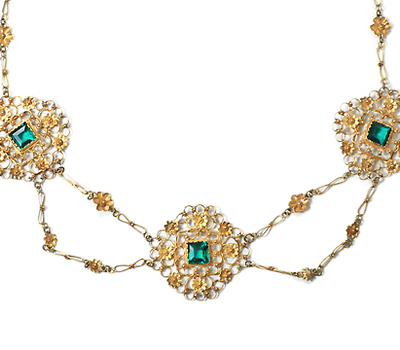 Georgian Green Paste & Gold Festoon Necklace