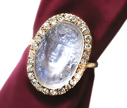Antique Diana Carved Moonstone Ring