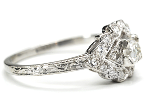 Unique 1930s Diamond Platinum Ring