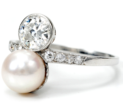Edwardian Diamond & Pearl Platinum Ring