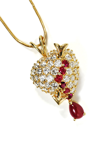 Tears of Love: Ruby & Diamond Heart Pendant