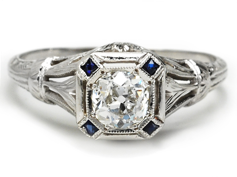 Fiery Art Deco Antique Engagement Ring
