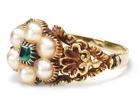 Georgian Emerald and Pearl Cluster Ring