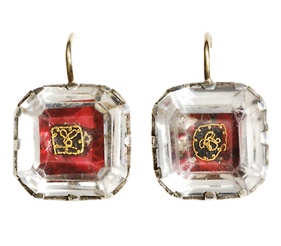 Very Scarce 17th C. Stuart Crystal Earrings
