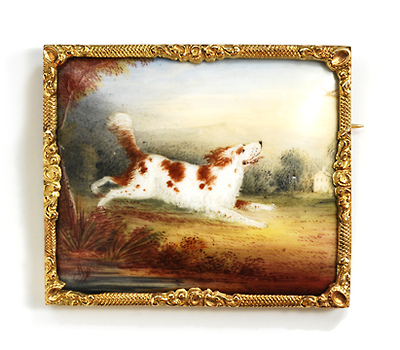 Running Free - Porcelain Dog Brooch