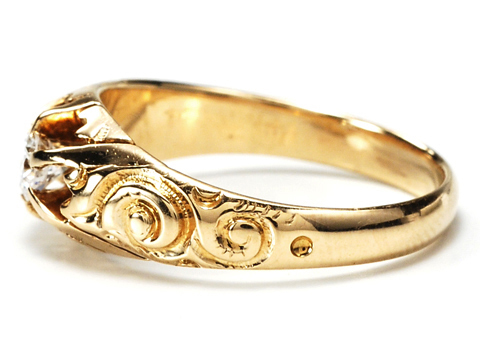 Victorian Gold in a 20th C Diamond Set Ring