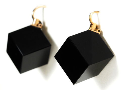 Victorian Futuristic Onyx Earrings