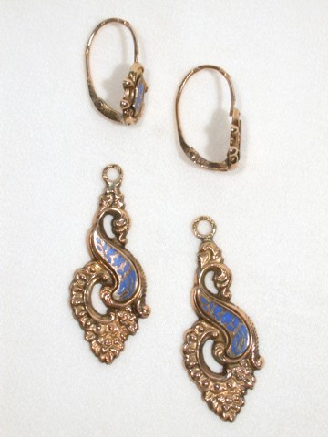 Lyrical Enamel and Gold Day Night Earrings