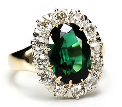 19th C. Tourmaline & Diamond Cluster Ring