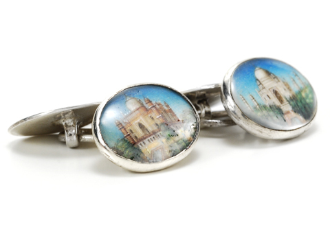 Anglo-Indian Portrait Miniature Silver Cufflinks