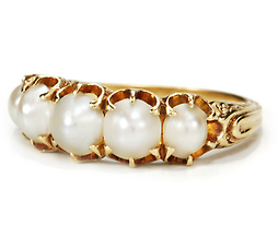 Victorian Romance in a Pearl & Gold Ring