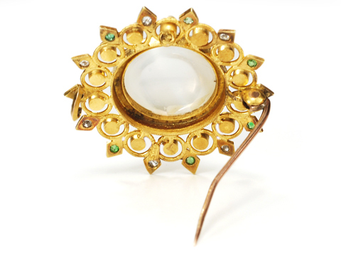 Edwardian Moonstone Pearl Brooch