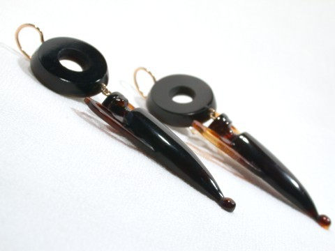 Victorian Tortoise Shell Dangle Earrings