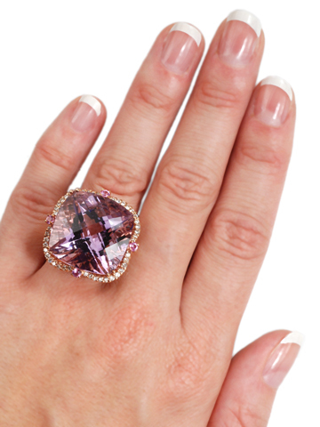 Lilac Fireworks - Amethyst Diamond Ring