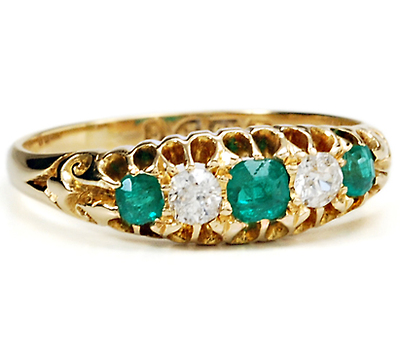 The Five Stone Emerald Diamond Ring