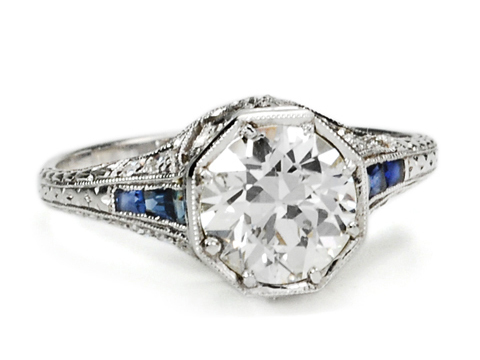 Intrinsic Infinity  - Antique Diamond Engagement Ring 1.37 c
