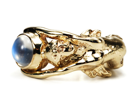 Modern Atlas as Maiden: Blue Moonstone Ring