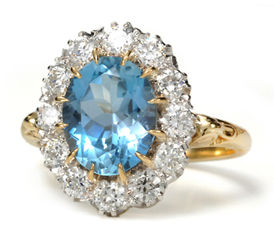 Cool as Ice: Aquamarine Diamond Cluster Ring