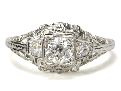 White on White: Art Deco Diamond Ring