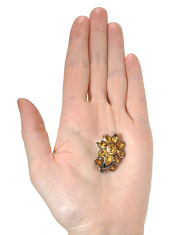 Georgian Yellow Topaz Silver Brooch