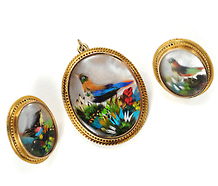 Bird's Eye View: Victorian Pendant Brooch & Earring Set