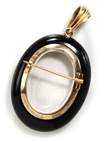 Victorian Onyx & Enamel Brooch Locket