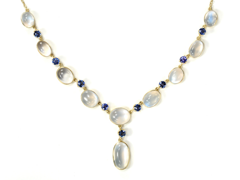 Blue on Blue: Antique Moonstone & Sapphire Necklace
