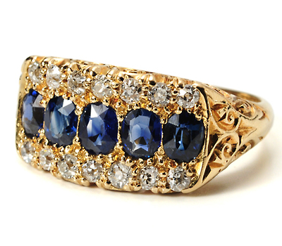 Antique English Garden: Sapphire Diamond Ring