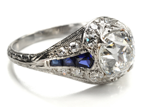 In Homage to Art Deco: Diamond & Sapphire Platinum Ring
