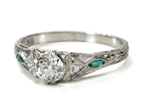 Emerald Diamond Ring of Platinum