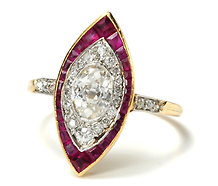 Navette Shaped Ruby Diamond Ring