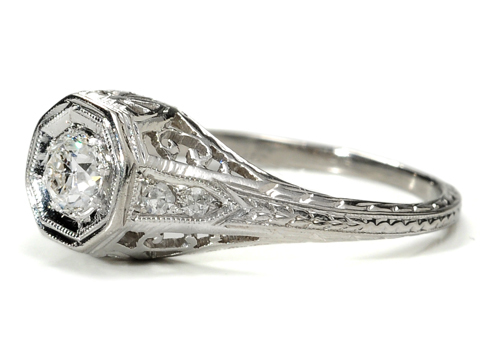 Art Deco Drama in a Diamond Platinum Ring