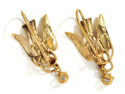 Edwardian Gold & Diamond Bird Earrings