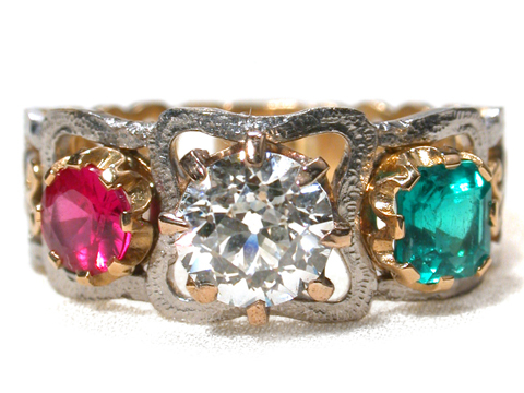 Uncontested Style: Edwardian Handcrafted Three Stone Ring
