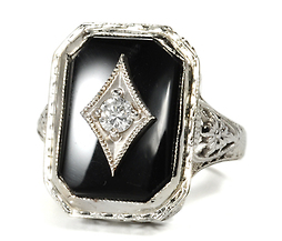 Art Deco Onyx Diamond Ring