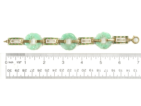 Gift of the Ancients: Carved Jadeite Enamel Bracelet