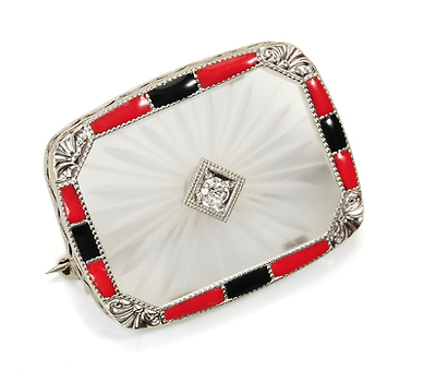 Art Deco Delicacy in a Diamond Enamel Brooch