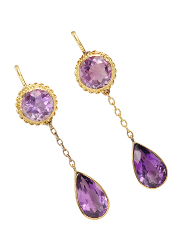 Classic Edwardian Amethyst Drop Earrings