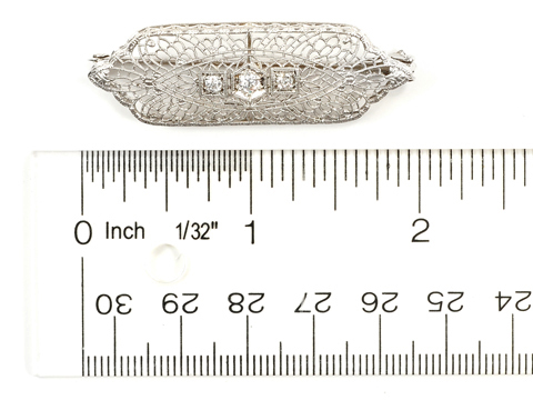 Edwardian Diamond Filigree Pendant Brooch