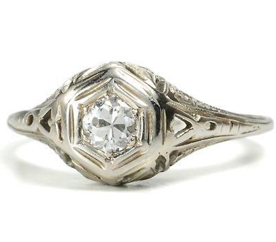 Flowers in Snow - Old European Engagement Ring