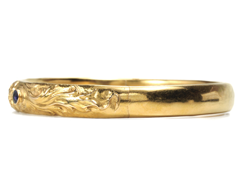 Art Nouveau Sapphire Set Gold Bangle