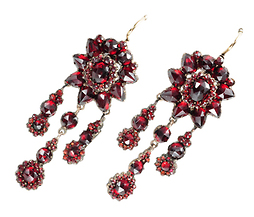 Ornate Antique Bohemian Garnet Earrings