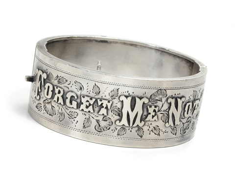 "Victorian ""Forget Me Not"" Cuff Bracelet"